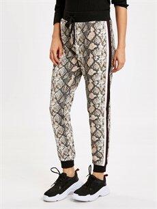 %84 Pamuk %14 Polyester %2 Viskoz Pantolon Normal Bel Standart Lastikli Bel Şerit Detaylı Desenli Jogger Pantolon