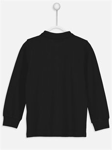 %100 Pamuk Düz Normal Tişört Polo Uzun Kollu Polo Yaka Tişört