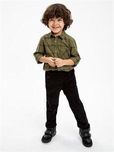 %100 Pamuk Erkek Çocuk Standart Kalıp Kadife Pantolon