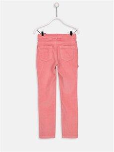%79 Pamuk %19 Polyester %2 Elastan Normal Bel Dar Fırfır Detaylı Slim Kadife Pantolon