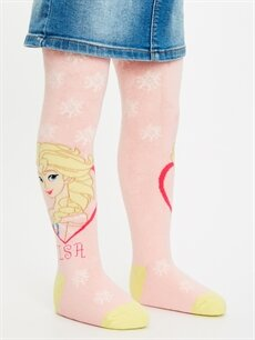 %79 Pamuk %20 Poliamid %1 Elastan  Kız Çocuk Frozen Elsa Desenli Külotlu Çorap
