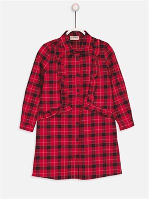 Fırfır Detaylı Armürlü Elbise - LC WAIKIKI