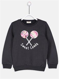 Antrasit Kız Çocuk Çift Yönlü Payetli Sweatshirt 8WH057Z4 LC Waikiki