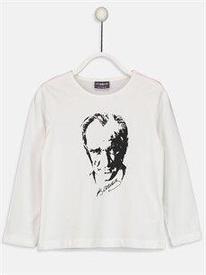 Beyaz Kız Çocuk Atatürk Baskılı Pamuklu Tişört 8WO185Z4 LC Waikiki