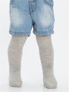 %55 Pamuk %23 Polyester %20 Poliamid %2 Elastan  Erkek Bebek Külotlu Çorap 2'li
