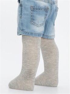 Gri Erkek Bebek Külotlu Çorap 2'li