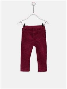 %98 Pamuk %2 Elastan Normal Bel Standart Kız Bebek Fitilli Kadife Pantolon