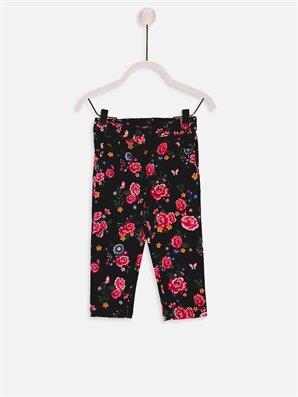 Kız Bebek Çiçek Desenli Kadife Pantolon - LC WAIKIKI