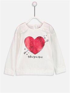 Ekru Kız Bebek Baskılı Sweatshirt 8W7763Z1 LC Waikiki