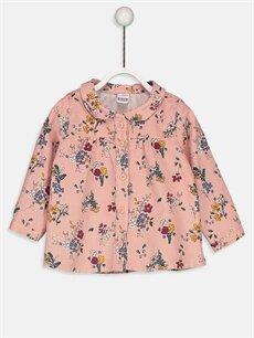 Pembe Kız Bebek Baskılı Kadife Gömlek 8W8068Z1 LC Waikiki