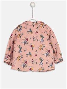 %100 Pamuk Standart Desenli Uzun Kol Gömlek Kız Bebek Baskılı Kadife Gömlek