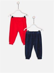 Lacivert Erkek Bebek Kadife Pijama Alt 2'li 8W8674Z1 LC Waikiki
