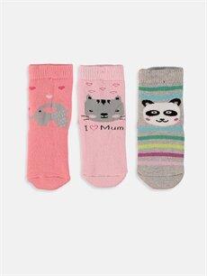 %80 Pamuk %19 Poliamid %1 Elastan  Kız Bebek Soket Çorap 3'lü