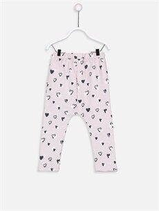 %94 Pamuk %6 Polyester Alt Grup Kız Bebek Desenli Eşofman Altı