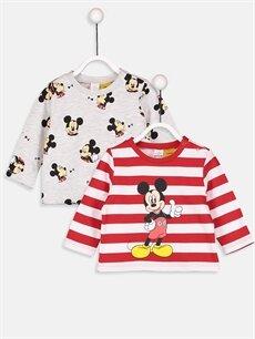 Kırmızı Erkek Bebek Mickey Mouse Baskılı Tişört 2'li 8WM300Z1 LC Waikiki