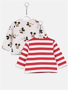 %100 Pamuk  Erkek Bebek Mickey Mouse Baskılı Tişört 2'li