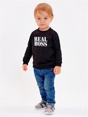 Erkek Bebek Yazı Baskılı Sweatshirt -8WM813Z1-CVL