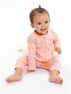 %100 Pamuk Kız Bebek Pamuklu Fermuarlı Tulum