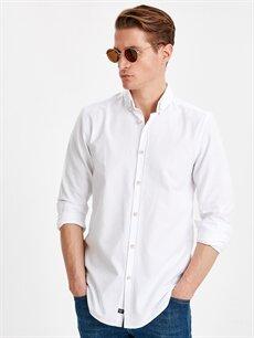 Beyaz Slim Fit Uzun Kollu Oxford Gömlek 9S0944Z8 LC Waikiki
