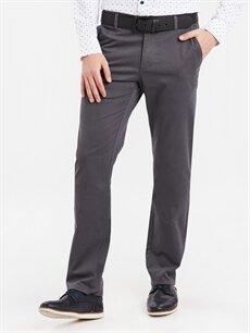 %97 Pamuk %3 Elastan Normal Bel Normal Pilesiz Pantolon Standart Kalıp Pamuklu Pantolon