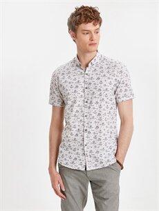 Bej Slim Fit Kısa Kollu Çiçek Baskılı Poplin Gömlek 9S3080Z8 LC Waikiki