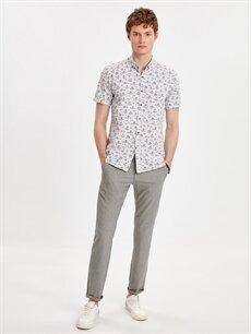 Erkek Slim Fit Kısa Kollu Çiçek Baskılı Poplin Gömlek