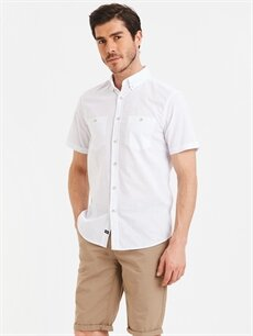 Beyaz Regular Fit Kısa Kollu Poplin Gömlek 9S4157Z8 LC Waikiki