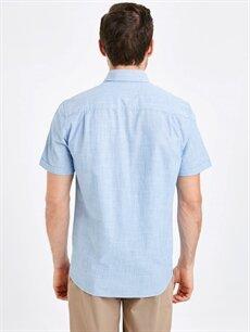 %100 Pamuk Normal Düz Kısa Kol Gömlek Düğmeli Regular Fit Kısa Kollu Poplin Gömlek