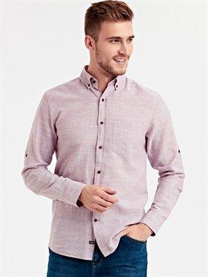 Regular Fit Uzun Kollu Keten Karışımlı Gömlek - LC WAIKIKI
