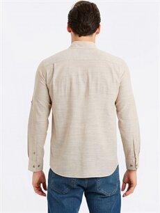 %70 Pamuk %30 Keten Normal Düz Uzun Kol Gömlek Düğmeli Regular Fit Uzun Kollu Keten Karışımlı Gömlek