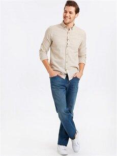 Erkek Regular Fit Uzun Kollu Keten Karışımlı Gömlek