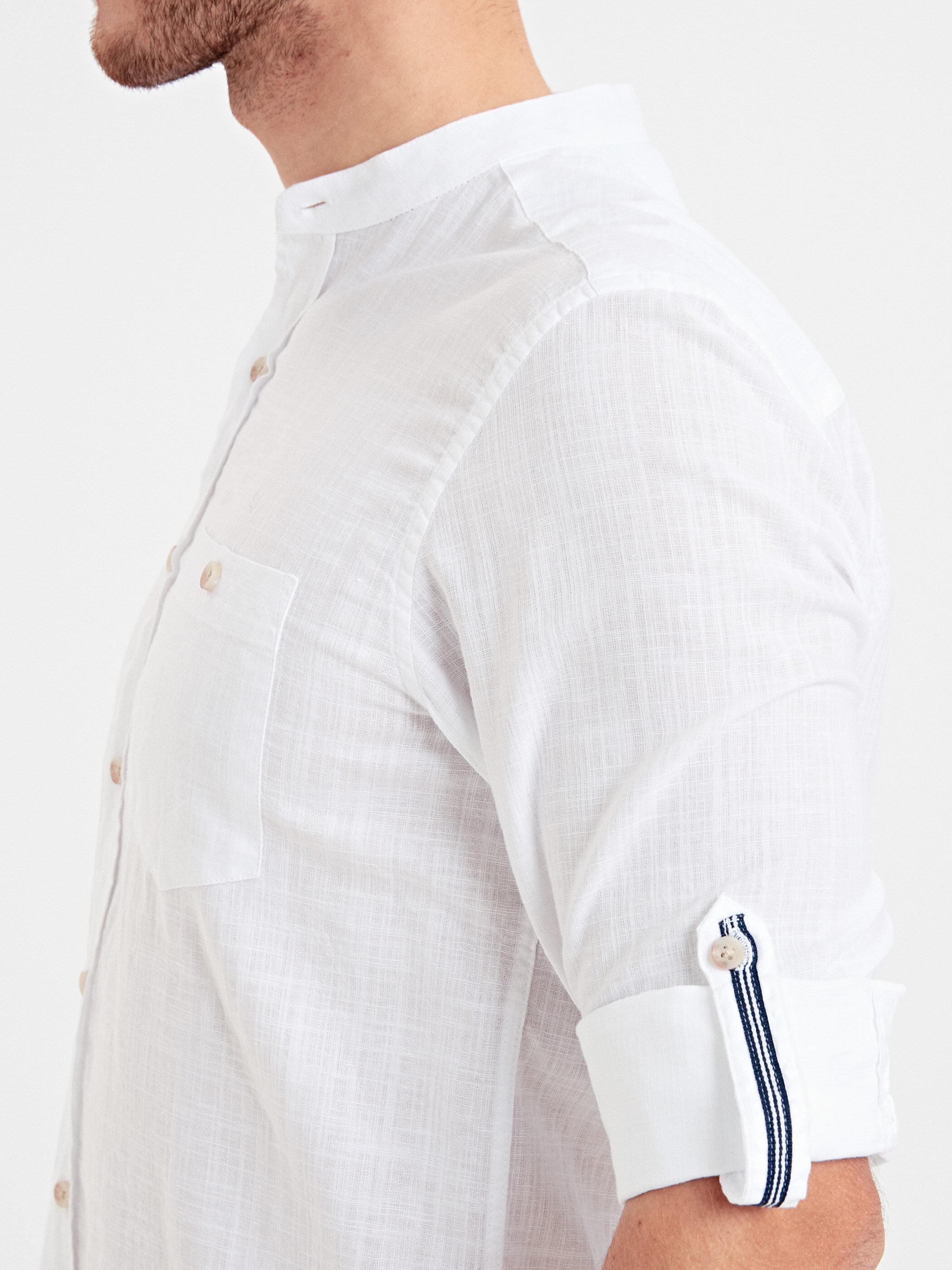 Regular Fit Uzun Kollu Hakim Yaka Keten Karışımlı Gömlek -9S4163Z8-JYX