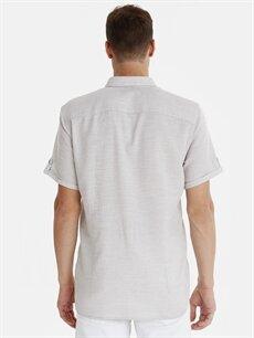 %100 Pamuk Dar Düz Kısa Kol Gömlek Düğmeli Slim Fit Armürlü Kısa Kollu Poplin Gömlek