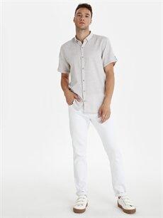 Erkek Slim Fit Armürlü Kısa Kollu Poplin Gömlek
