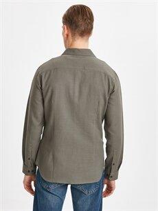 %100 Pamuk Uzun Kol Düz En Dar Gömlek Düğmesiz Ekstra Slim Fit Uzun Kollu Armürlü Poplin Gömlek