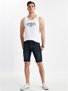 İndigo Skinny Fit Jean Bermuda Şort 9SG462Z8 LC Waikiki