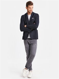 Erkek Dar Kalıp Desenli Blazer Ceket
