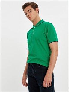 %55 Pamuk %45 Polyester Düz Bol Kısa Kol Tişört Polo Polo Yaka Basic Kısa Kollu Pike Tişört