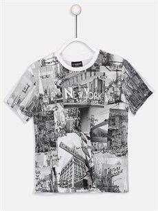 Beyaz Erkek Çocuk Baskılı Pamuklu Tişört 9SJ867Z4 LC Waikiki