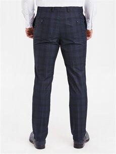 Erkek Slim Fit Ekose Takım Elbise Pantolonu