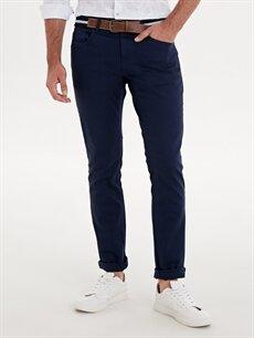 %98 Pamuk %2 Elastan Normal Bel Dar Pilesiz Pantolon Slim Fit Gabardin Pantolon