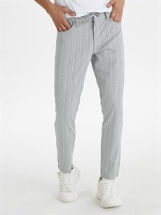 %64 Polyester %2 Elastan %34 Viskon Normal Bel Dar Pilesiz Pantolon Slim Fit Bilek Boy Çizgili Poliviskon Pantolon