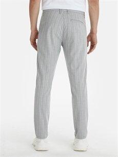 Erkek Slim Fit Bilek Boy Çizgili Poliviskon Pantolon