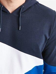 %86 Pamuk %14 Polyester Desenli Kapüşonlu Sweatshirt