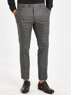 %65 Polyester %2 Elastan %33 Viskon  Slim Fit Bilek Boy Gabardin Takım Elbise Pantolonu