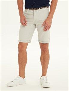 %100 Pamuk %100 Polyester Şort Slim Fit Armürlü Bermuda Şort