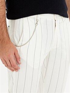 %98 Pamuk %2 Elastan Slim Fit Çizgili Bilek Boy Pantolon