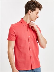 Kırmızı Regular Fit Basic Kısa Kollu Pike Gömlek 9SO476Z8 LC Waikiki