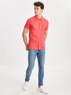 Erkek Regular Fit Basic Kısa Kollu Pike Gömlek