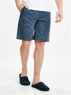 %34 Pamuk %66 Polyester Standart Desenli Pijama Alt Şort